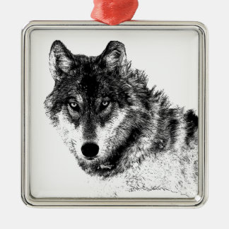 Black White Inspirational Wolf Eyes Metal Ornament