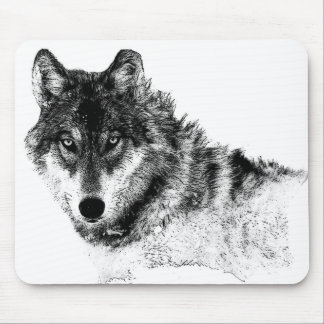 Black White Inspirational Wolf Eyes Mouse Pad