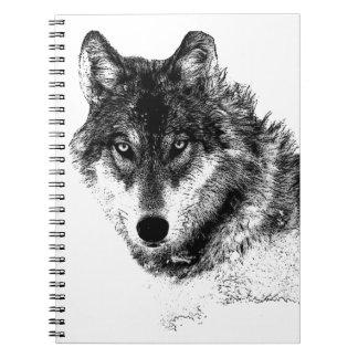 Black White Inspirational Wolf Eyes Notebook