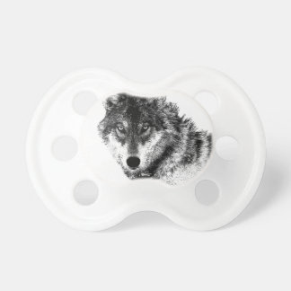 Black White Inspirational Wolf Eyes Pacifier