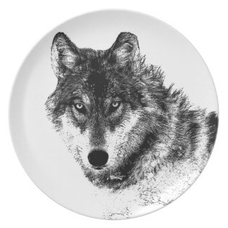 Black White Inspirational Wolf Eyes Plate