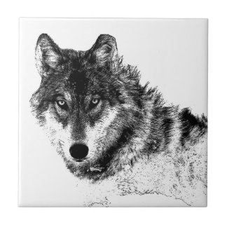 Black White Inspirational Wolf Eyes Tile