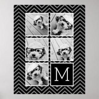 Black White Instagram 5 Photo Collage Monogram Poster