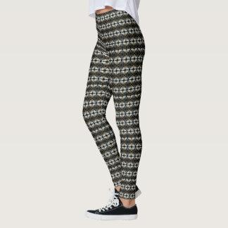 Black & White Jacquard Cat's Eyes Fashion Leggings