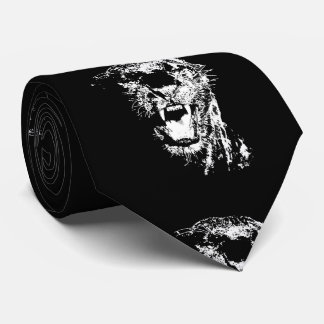 Black White Jaguar Pop Art Tie