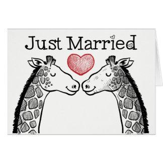 Black & White Just Married Giraffe Love Wedding Card