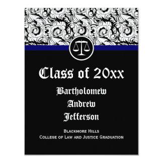 Black/White Justice Scales Law School Graduation Card