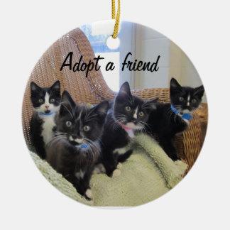 Black & White Kittens Ceramic Ornament
