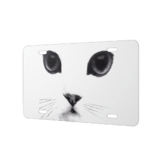 Black White Kitty Cat Face License Plate