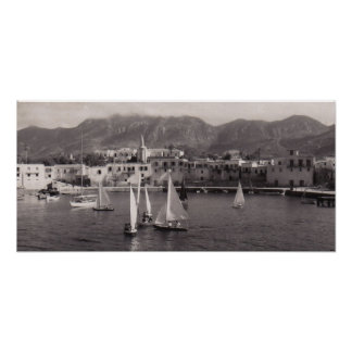 BLACK & WHITE KYRENIA HARBOUR 1950 VIEW POSTER