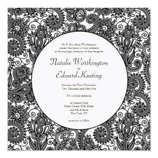 Black & White Lace Monogram Wedding Invite