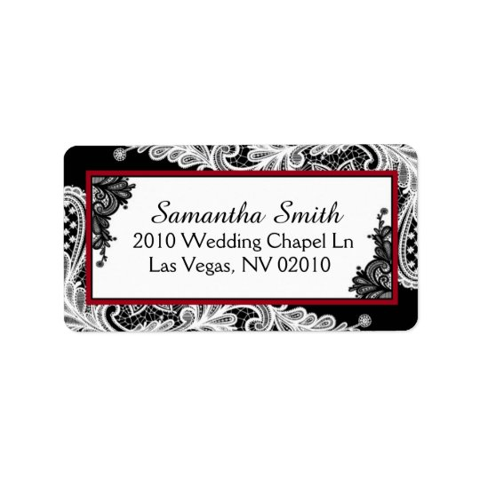 Black White Lace Red Accents Wedding Labels