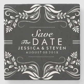 Black & White Lace Save The Date Sticker 2 Stone Beverage Coaster