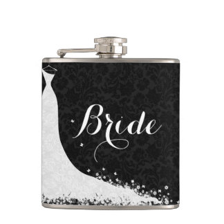 Black White Lace Wedding Dress Bride Hip Flask