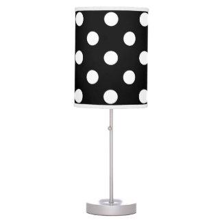 Black White Large Polka Dot Pattern Table Lamp
