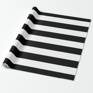 Black & White Large Striped | Customizable Wrapping Paper