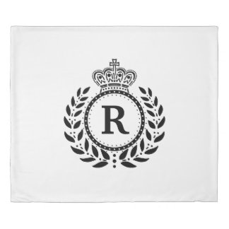 Black White Laurel Wreath Crown Monogram | Royal Duvet Cover
