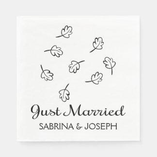 Black & White Leaf Just Married Wedding Leaves Disposable Napkin