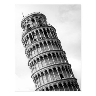 Black & White Leaning Tower of Pisa Italy Postcard