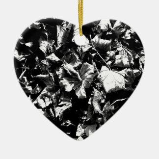 Black & White Leaves Ceramic Ornament