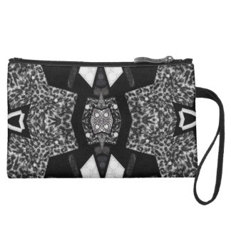 Black&White Leopard Abstract Wristlet