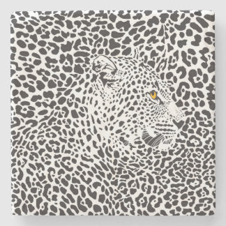 Black & White Leopard Camouflaged In Spots 2 Stone Beverage Coaster