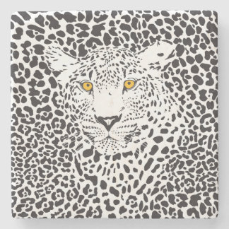 Black & White Leopard Camouflaged In Spots Stone Coaster