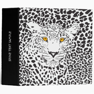 Black & White Leopard Camouflaged In Spots Pattern 3 Ring Binder