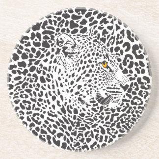 Black & White Leopard Camouflaged In Spots Pattern Beverage Coaster