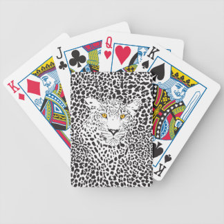 Black & White Leopard Camouflaged In Spots Pattern Bicycle Poker Deck