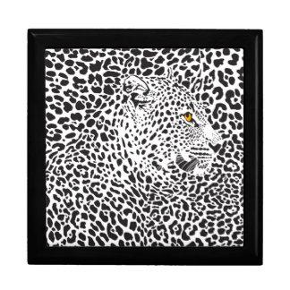 Black & White Leopard Camouflaged In Spots Pattern Keepsake Box