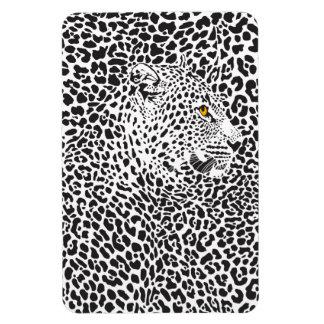 Black & White Leopard Camouflaged In Spots Pattern Rectangular Photo Magnet