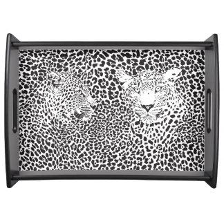 Black & White Leopard Illustration Food Trays