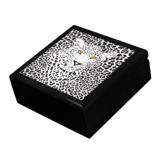 Black & White Leopard In Spots Jewelry Boxes