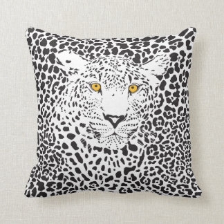 Black & White Leopard In Spots Throw Pillows