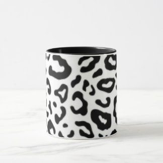 Black white Leopard Pattern Print Design Mug