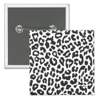 Black & White Leopard Print Animal Skin Patterns 2 Inch Square Button