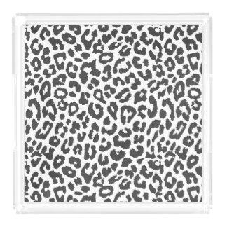 Black & White Leopard Print Animal Skin Patterns Acrylic Tray