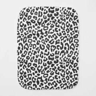 Black & White Leopard Print Animal Skin Patterns Baby Burp Cloth