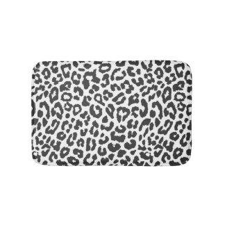 Black & White Leopard Print Animal Skin Patterns Bathroom Mat