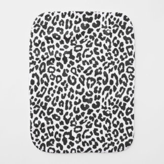 Black & White Leopard Print Animal Skin Patterns Burp Cloth