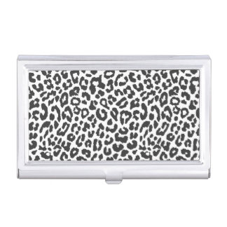Black & White Leopard Print Animal Skin Patterns Business Card Holder