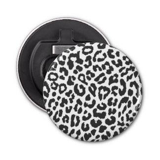 Black & White Leopard Print Animal Skin Patterns Button Bottle Opener