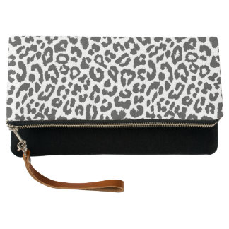 Black & White Leopard Print Animal Skin Patterns Clutch
