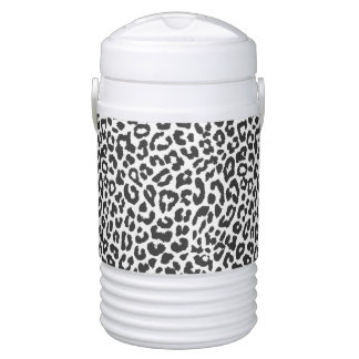 Black & White Leopard Print Animal Skin Patterns Cooler