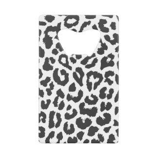 Black & White Leopard Print Animal Skin Patterns Credit Card Bottle Opener
