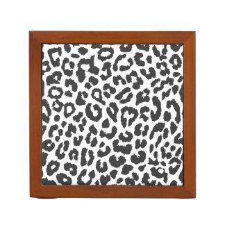 Black & White Leopard Print Animal Skin Patterns Desk Organizer