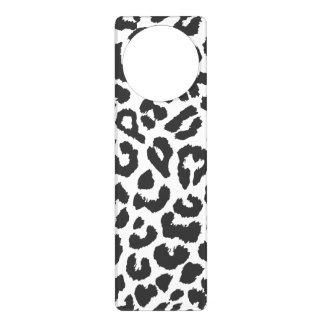 Black & White Leopard Print Animal Skin Patterns Door Hanger