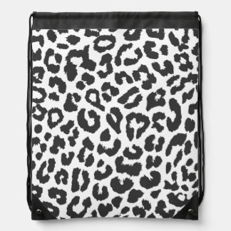 Black & White Leopard Print Animal Skin Patterns Drawstring Bag
