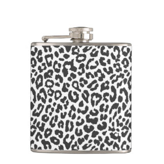 Black & White Leopard Print Animal Skin Patterns Hip Flask
